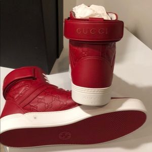 😎New Gucci Red GG embossed Leather Hi Tops  14.5